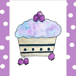 Oh How Cute Kids by Serena Bowman - Blueberry Cupcake, Ready To Hang Canvas Kid's Wall Decor, 8 X 10 - Each kid is unique in his/her own way, so why shouldn't their wall decor be as well! With our extensive selection of canvas wall art for kids, from princesses to spaceships, from cowboys to traveling girls, we'll help you find that perfect piece for your special one.  Or you can fill the entire room with our imaginative art; every canvas is part of a coordinated series, an easy way to provide a complete and unified look for any room.