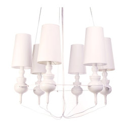 IMPORT LIGHTING & FURNITURE - Josephine Queen Chandelier, White, Queen 6 - The Josephine collection creates a democratic quality to the Mediterranean style. It includes chandeliers, pendant lamp, and table lamp.