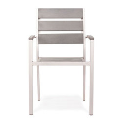 Grandin Road - Metropolitan Grayd Outdoor Armchair - Sleek collection with brushed aluminum frames. Select an Armchair, Slatted Armchair, Side Chair, Bench, and Dining Table; each piece is sold separately. Armchair features teak wood armrests. Armchair and Side Chair feature woven seats and backs. Slatted Armchair offers a teak wood seat and back slats. Introduce the modern lines of our Metropolitan outdoor dining Collection to your porch or patio. Versatility abounds with four seating options to surround the teak-top table. Natural teak details and woven seats and backs add extra warmth to the brushed aluminum frames.. . . . . Dining table and bench have slatted teak tops. All pieces arrive assembled. Clean surfaces with a dry cloth, teak with wood cleaner. Imported.