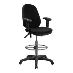 Flash Furniture - Flash Furniture Ergonomic Multi-Functional Triple Paddle Drafting Stool w/ Arms - Drafting Stools can be used in a multitude of environments including School, Work and for the Home. Not only is this chair great for drafting and regular office assignments it is also useful for people with disabilities who need a higher chair. Drafting stools make it easier for the user when they need or prefer more height to comfortably get in and out of chairs. This Multi-Functional Drafting stool will exceed your expectations with the array of adjustable controls to suit your seating preference and the comfortably padded seat and back. [KC-B802M1KG-ARMS-GG]
