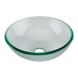 Renovators Supply - Vessel Sinks Frosted Green Glass Mini Branch Textured Sink Round | 12890 - MINI Glass Vessel Sinks: Textured Frosted Tempered glass sinks are five times stronger than glass, 1/2 inch thick, withstand up to 350 F degrees, can resist moderate to high degrees of impact and are stain-proof. Ready to install this package includes FREE 100% solid brass chrome-plated pop-up drain, FREE machined 100% solid brass chrome-plated mounting ring and silicone gasket. Measures 12 inch diameter x 4 3/8 inch deep x 1/2 inch thick.