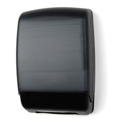 """Palmer Fixture - Multifold Towel Dispenser - Plastic, Black - The Plastic Multifold Towel dispenser, with a Translucent Dark Cover and black back, is completely hands-free, the user touches nothing but the paper they need. The impact resistant plastic cover allows for easy dispensing and reduces multiple dispensing. Translucent cover provides easy view of a low paper supply.; Dimensions: 11"""" L x 4 1/2 W x 16"""" H; Includes 1 key, type 1"""