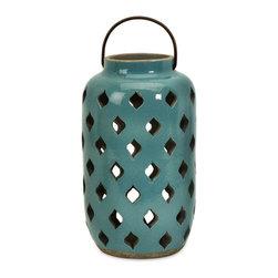 iMax - Medium Pocono Lantern - Spanish inspired medium teal glazed rustic ceramic Pocono lantern.