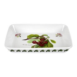 Portmeirion Pomona Classics Lasagna Dish - About PortmeirionStrikingly beautiful, eminently practical, refreshingly affordable. These are the enduring values bequeathed to Portmeirion by its legendary co-founder and designer, Susan Williams-Ellis. Her father, architect Sir Clough Williams-Ellis, was the designer of Portmeirion, the North Wales village whose fanciful architecture has drawn tourists and artists from around the world (including the creators of the classic 1960s TV show The Prisoner). Inspired by her fine arts training and creation of ceramic gifts for the village's gift shop, Susan Williams-Ellis (along with her husband Euan Cooper-Willis) founded Portmeirion Pottery in 1960. After 50+ years of innovation, the Portmeirion Group is not only an icon of British design, but also a testament to the extraordinarily creative life of Susan Williams-Ellis.The style of Portmeirion dinnerware and serveware is marked by a passion for both pottery manufacturing and trend-setting design. Beautiful, tactile, nature-inspired patterns are a defining quality of Portmeirion housewares, from its world-renowned botanical designs modeled on antiquarian books to the breezy, natural colors of its porcelain and earthenware. Today, the Portmeirion Group's design legacy continues to evolve, through iconic brands such as Spode, the Pomona Classics collection, and the award-winning collaboration of Sophie Conran for Portmeirion. Pomona for Portmeirion:Classical in both its inspiration and its style, the Pomona Collection from Portmeirion Group is a garden of earthly delights. Named for the ancient Roman goddess of fruit and abundance, its lifelike patterns and fruit motifs are inspired by a collection of early 19th-century books of hand-colored botanical drawings. The Pomona Collection was introduced in 1982 by legendary designer and Portmeirion co-founder Susan Williams-Ellis, whose iconic garden- and botanical-themed designs are still among the world's most popular casual tableware motifs.The Pomona Collection's intricately detailed botanical drawings feature green leaf borders and multi-color fruit displays on a background of high-fired white earthenware. Each distinctive motif bears an elegant cursive title to indicate its botanical origins. These include The Hoary Morning Apple, The Teinton Squash Pear, The Wild Blackberry, The Roman Apricot, Grimwoods Royal George (Peach), and The Late Duke Cherry. Together, the multiple motifs and dishes of the Pomona Collection of serveware, dinnerware, and drinkware create bountiful opportunities for mixing and matching sets. Made of dense earthenware, these pieces are dishwasher-, microwave-, freezer-, and oven-safe (to 350°F). Give nature its fullest expression in every season and setting with the Pomona Collection from Portmeirion.