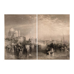 Ancient Venice - This stylized work with a vintage effect depicts the historic fishing city of Venice, a city located on the northeastern side of Italy. Known as the City of Water, Venice is often thought of as one of Europe's most romantic and beautiful cities built by man.  Handsomely rendered, our Ancient Venice tells a story of hard-working fishermen hauling in their day's catch as clouds sweep away the remaining sunlight against the backdrop of the historic city. Split between two canvases, our Ancient Venice giclee make for a stunning large scaled display across a feature wall.