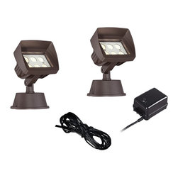 """Super Duty - Transitional Super Duty Eastham Bronze 4-Piece LED Landscape Light Set - Keep your home well lit at night with this complete landscape lighting set from the Eastham Super Duty™ line. Includes two low voltage energy efficient LED bronze floodlights made of aluminum with tempered glass lenses to withstand the weather and protect the LED modules. A 45-watt low voltage transformer is included which features a built-in photocell for dusk to dawn operation. A black landscape wire completes the kit so you can connect your lights bringing this set together for a spectacular look. For low voltage landscape lighting systems.  4-piece floodlight landscape kit.  From the Super Duty™ line.  Bronze finish.  Cast aluminum construction.  Includes 2 floodlights one 45-watt low voltage transformer cable.  Floodlights include six 1 watt LEDs.  Comparable to a 25 watt incandescent bulb.  Free 45 watt transformer.  Full ON mode or 3 AUTO settings (4 6 and 8 hours).  Built in photo-cell for dusk to dawn operation.  Free 50 feet of cable.  Includes ground stake.  Lights are 8"""" high 5 1/2"""" wide."""