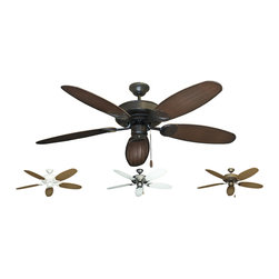 """Outdoor Ceiling Fans (Wet Rated) - The Raindance Tropical Outdoor Ceiling Fan with 52"""" ABS Plastic Wicker / Leaf (Double Sided) Blades is the premier ceiling fan for indoor and outdoor use. It is U.L. approved for wet locations making it ideal for non-roofed or roofed locations. The motor is enclosed in a water resistant housing and treated with a special paint process, including a galvanized undercoat, and has stainless steel hardware. Heavy duty blade irons are also featured with extra high blade pitch and non-warp blades. The sum of these fine features is a fan which resists rust brought about by salt, dust and moisture. The Raindance is available in White, Pure White, Brushed Steel, Matte Black, Antique Bronze, Oil Rubbed Bronze, or Wine. The Bamboo / Leaf blades are doule sided with tropical designs and are ABS plastic. One side as a Bamboo pattern while the other side has a palm leaf pattern."""