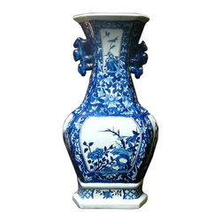 Golden Lotus - Chinese Blue & White Porcelain Hexagon Shape Scenery Vase - This is a traditional Chinese decoration vase in blue & white color with detail combination of oriental lotus flower pattern and scenery theme. ( some blurry on the graphic )