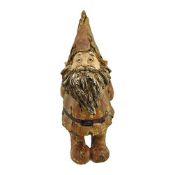 Driftwood-Look Gnome Greeter Statue 19 In. - Add an adorable accent to your garden, porch, or patio with this gnome statue. Made of cold cast resin, it measures 19 inches tall, 7 1/2 inches wide, 8 inches deep. This piece is designed to look as though it has been carved from driftwood, and has a weathered crackle finish. This happy gnome greeter looks great in gardens or flower beds, is sure to be admired, and makes a great gift for a friend or neighbor.