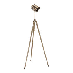 """Signature Design by Ashley - 67"""" Quetzal Antique Brass Floor Lamp L710111 - The Quetzal lamp is designed with harmonizing finishes and sleak lines, making your home or office both awe-inspiring and elegant."""