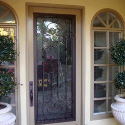 Wrought Iron Door Insert - Cassela Design (Hinged Glass w/ Screen Included) - www.dcsouthbay.com