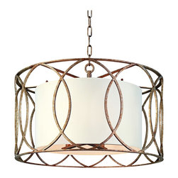 """Troy - Sausalito 25"""" Wide Silver Gold Pendant Light - Whether your home is traditional transitional or contemporary this aged silver and gold pendant light will enhance your decor. A hand-worked wrought iron open curve design cage surrounds an off-white hardback linen drum shade. A chic modern pendant chandelier crafted with the perfect amounts of style and function. From Troy Lighting. Wrought iron frame. Aged silver and gold finish. Linen shade. White linen shade. Takes five 60 watt candelabra bulbs (not included). 25"""" wide. 16 1/2"""" high. Canopy is 5 1/2"""" wide x 1"""" high  Wrought iron frame.   Aged silver and gold finish.   Linen shade.    White linen shade.   Takes five 60 watt candelabra bulbs (not included).   25"""" wide.   16 1/2"""" high.   Canopy is 5 1/2"""" wide x 1"""" high."""
