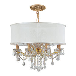 Crystorama Lighting Group - Brentwood Gold Twelve-Light Chandelier with Swarovski Strass Crystal - -Draped in Clear Swarovski Strass Crystal.  -Accented with a Smooth Antique White Silk Shade. Crystorama Lighting Group - 4489-GD-SMW-CLS