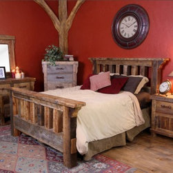 Timber Designs - Black Mountain Reclaimed Wood Barnwood Bed, California King Size - Black  Mountain  Barnwood  Bed - California King Size.                  This  beautiful  reclaimed  barnwood  bed  is  a  classic  addition  to  your  home.  Handcrafted  from  wood  posts  that  were  support  beams  for  a  wood  barn  or  fence  somewhere  in  the  great  American  West,  the  rich  natural  colors  and  rustic  patina  of  this  beautiful  barn  wood  bed  will  be  a  classic  addition  to  your  rustic  decor.  Not  only  does  this  bed  look  great,  it's  eco-friendly.  Perfect  for  your  home,  or  your  home  away  from  home.                        Catalyzed  lacquer  finish  brings  out  the  natural  patina  in  the  wood  and  protects  against  wear.                  Handcrafted  from  reclaimed  barnwood                  Includes  headboard,  footboard,  and  side  rails                  Available  in  other  sizes                  Free  Curbside  shipping  in  Continental  U.S.*                  Allow  6  weeks  for  delivery                  Made  in  USA                  Free  curbside  shipping  in  the  lower  48  states                              Reclaimed  Wood  Bed  Pricing  and  Dimensions  -  Black  Mountain                                            Twin  Reclaimed  Wood  Bed,  Black  Mountain                          82  deep  x  60  wide  x  55  high                          375  lbs                          $1258                                              Full Reclaimed  Wood  Bed,  Black  Mountain                          82  deep  x  66  wide  x  55  high                          450  lbs                          $1698                                              Queen  Reclaimed  Wood  Bed,  Black  Mountain                          94  deep  x  72  wide  x  55  high                          450  lbs                          $1698                                              California  King  Reclaimed  Wood  Bed,  Black  Mountain                          98  deep  x  84  wide  x  55  high                          475  lbs                          $1988                                              Eastern  King  Reclaimed  Wood  Bed,  Black  Mountain                          94  deep  x  88  wide  x  55  high                          475  lbs                          $1988                                      *Please  note:  Free  shipping  of  your  rustic  reclaimed  wood  bed  includes  freight  delivery  by  truck  to  your  curbside.  If  you  prefer  inside  or  white  glove  delivery,  or  installation,  or  if  you  are  in  a  rural  area  not  accessible  by  truck,  we  are  happy  to  work  with  you  to  arrange  additional  services.  Please  call  for  a  quote:  888-653-2276.