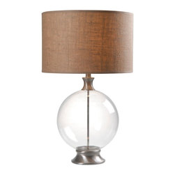 Kenroy Home - Kenroy 32274GBS Constellation Table Lamp - A contemporary style lamp with a coastal touch. Constellation offers cool Brushed Steel and large globe glass base that is visually weightless but carries a ton of style. This burlap top lamp is fitted for modern comfortable settings.