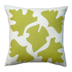Balanced Design - Hand Printed Linen Pillow - Shade, Yellow, 16 x 16 - This pillow's leaf silhouettes are like the shadows of leaves on a sunny sidewalk, putting a modern, graphic twist on a classic nature theme. The design is hand-printed on linen using water-based inks, and the pillow insert is made with fiber from recycled plastic bottles, giving you a product that's both stylish and earth-friendly.