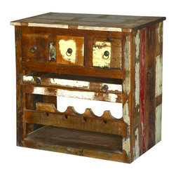 "Sierra Living Concepts - Whitney Rustic Reclaimed Wood Wine Bar Cabinet - Keep the party 'real' with our authentically distressed 31"" long solid hardwood Wine Bar Cabinet. This handmade free standing bar includes a wooden wine rack, pull out shelf, and three pillbox style drawers. The counter top extends just slightly beyond the frame."