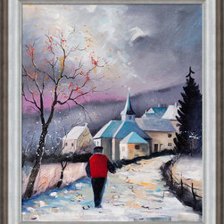 """overstockArt.com - Ledent - Cornimont 67 Oil Painting - 20"""" x 24"""" Oil Painting On Canvas Cornimont 67 is a great painting of a man on a journey to town. The artist's use of color really captures your attention to the skies. Is a storm coming? Create your own story captured in this fine painting. Pol Ledent was born in 1952 in Belgium. He came to painting in 1989. He started with watercolor but felt rapidly that oil painting would match his way of being. He is a self-taught painter. Nevertheless he took some drawing lessons in a Belgian academy. After taking part into numerous group exhibitions, some galleries in Belgium proposed to him to exhibit his works. Dinant, Bouillon, Brussels , Paris and Moscow in October 2006."""