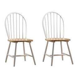 Boraam - Boraam Farmhouse Wood Dining Side Chair in White and Natural (Set of Two) - Boraam - Dining Chairs - 31316 - Boraam's high quality products are well styled and priced right. Benefiting from years of experience in the industry, Boraam knows what you look for in quality furniture, and takes pride in getting orders out as diligently as possible. Feel confident that Boraam will take your living space to another level.