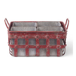 Foreside - Red Lattice Caddy - With an intentionally distressed finish, this easy-to-tote caddy boasts farmhouse charm and plenty of storage space for small items.   13'' W x 11.5'' H x 6.5'' Iron Imported