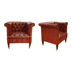 Pair of Vintage Ruby Leather Club Chairs with Tufting, Pleating & Brass Castors, - Dimensions:L 34''  × W 29''  × H 29''