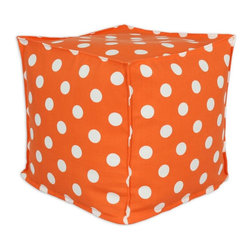 Sands - Breezy Polka Dot Orange  Indoor-Outdoor Accent 17X17 inch Ottoman - Add a modern touch to your home and outdoor with this decorative Ottoman. This Ottoman is designed to accent your home and your outside patio. This soft but durable fabric will accent any room and give your home inside or outside space a stylish look.