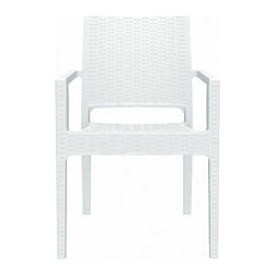 Siesta - Ibiza Resin Wickerlook Dining Arm Chair White (Set of 2) - -Made from commercial grade resin with gas injection molded legs, with non-skid rubber caps.