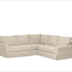 """PB Comfort Roll-Arm 3-Piece L Shaped Sectional Slipcovers, everydaysuede(TM) Sto - Designed exclusively for our PB Comfort Sectional, these soft, inviting slipcovers retain their smooth fit and remove easily for cleaning. Left 3-Piece Sectional with Box Cushions shown. Select """"Living Room"""" in our {{link path='http://potterybarn.icovia.com/icovia.aspx' class='popup' width='900' height='700'}}Room Planner{{/link}} to select a configuration that's ideal for your space. This item can also be customized with your choice of over {{link path='pages/popups/fab_leather_popup.html' class='popup' width='720' height='800'}}80 custom fabrics and colors{{/link}}. For details and pricing on custom fabrics, please call us at 1.800.840.3658 or click Live Help. All slipcover fabrics are hand selected for softness, quality and durability. Left-arm configuration is shown; also available in right-arm configuration. {{link path='pages/popups/sectionalsheet.html' class='popup' width='720' height='800'}}Left-arm or right-arm configuration{{/link}} is determined by the location of the arm on the love seat as you face the piece. This is a special-order item and ships directly from the manufacturer. To see fabrics available for Quick Ship and to view our order and return policy, click on the Shipping Info tab above. Watch a video about our exclusive {{link path='/stylehouse/videos/videos/pbq_v36_rel.html?cm_sp=Video_PIP-_-PBQUALITY-_-SUTTER_STREET' class='popup' width='950' height='300'}}North Carolina Furniture Workshop{{/link}}."""