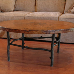 """Mathews & Company - South Fork Coffee Table with 42"""" Round Top - Hand crafted by Mathews and Company artists, this coffee table base will give your home a taste of natural beauty with its branch-like design. There are four colors to choose from, all of them creating a unique and beautiful finish to suite every taste. To complete your coffee table's statement, you can also purchase one of our perfectly matched tabletops, which are as durable as they are lovely. Pictured in Copper top and Black finish."""
