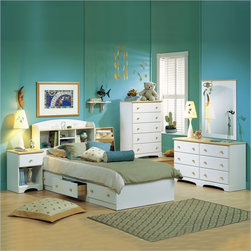 South Shore - South Shore Newbury Kids Twin Captain's 3-Piece Bedroom Set in White Finish - South Shore - Bedroom Sets - 3263PKG - The clean linear lines and sparse decorative detail that define traditional Shaker style are reflected in this bedroom set. The bed features three generous-sized drawers for convenient under-bed storage. Standard In This Set: