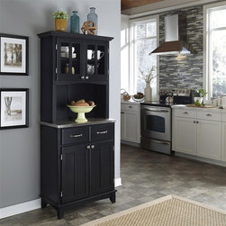 HomeStyles - Buffet with Hutch - Accent furniture for the dining room brings extra storage and display, plus a traditional flair. Black finish showcases the simple lines of the cabinetry that combines with a stainless steel top. Hutch is crafted with Plexiglas front doors for displaying collectibles. * Buffet with two utility drawers. 18 gauge stainless steel counter top. Adjustable shelf. Hutch with plexiglass doors with an adjustable shelf. Brushed steel hardware. Made from Asian hardwood. Made in Thailand. Assembly required. Hutch: 31.25 in. W x 15.87 in. D x 71.5 in. H. Buffet: 29.25 in. W x 15.87 in. D x 36 in. HBuffet-of-buffets is an expansive collection of buffets designed to provide added storage and workspace for the kitchen and dining areas of the home. Including a clear coat finish to help protect against wear and tear from normal use.
