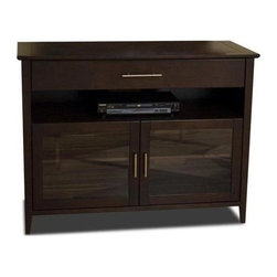"Tech Craft - Veneto Flat Panel Entertainment Console w Gla - Veneto Series. 48 in. Wide espresso ""Hi-Boy"" credenza for flat panel TV's. Doors to conceal your components. Convenient easily accessible component slot. Extra wide drawer for additional storage. Best for 50 in. sized TV's. 48 in. W x 20 in. D x 36.75 in. H"