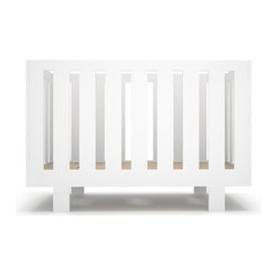 Spot on Square - Eicho Crib - The Spot on Square Eicho crib has an iconic, minimalistic look, featuring clean lined openings on side and end panels. The crib has three adjustable positions for the mattress platform allowing you to adjust the height to grow with your baby. Toddler daybed conversion available.