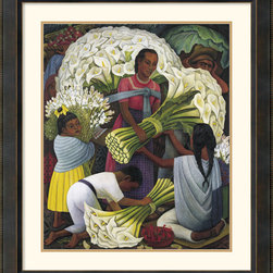 Amanti Art - 'The Flower Vendor' Framed Print by Diego Rivera - Mexican-born Rivera became famous as a master muralist. Using deep earth tones and solid forms he creates a warm terracotta feel to his paintings. This is an excellent print to add warmth and a touch of contemporary elegance to your surroundings.