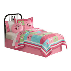 Pem America - Gardners Friend Twin Quilt with Pillow Sham - Hot pinks and light pinks with aqua blue and lime greens are the base for this ladybug applique quilt.  The bright colors help bring any room to life.  The 100% cotton face material is hand pieced face with applique butterflies and flowers. Pre-washing provides a natural worn look. Mini set includes the following bedding: 1 twin quilt and 1 standard sham See care label for instructions.