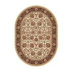 Tayse Rugs - Elegance Black and Green Oval: 6 Ft. 7 In. x 9 Ft. 6 In. Rug - - Classic design that can be used with transitional or traditional d�cor. Wider, contrasting border offers a distinct appeal. Timeless hues of ivory, brown and gold. Made of soft, easy to clean polypropylene. Vacuum and spot clean.  - Square Footage: 63  - Pattern: Floral  - Pile Height: 0.39-Inch Tayse Rugs - 5332  Ivory  7x10 Oval