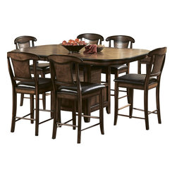 Homelegance - Homelegance Westwood 6-Piece Counter Height Dining Room Set - Deriving its look from a multitude of classic designs, the Westwood collection is the perfect blend of traditional accents and transitional styling. Drawing from the classic details of matched oak veneer patterns and modified Napoleon chair backs, the transitional design is pulled together with functional table base storage, bi-cast vinyl seats and a warm burnished oak finish.