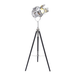 Benzara - Wood Tripod Spot Light with Protective Metal Fixtures - Wood Tripod Spot Light with Protective Metal Fixtures. This elegant tripod stand is an essential addition to your photography checklist.