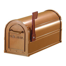 Salsbury Industries - Salsbury Copper Finish Heavy-duty Rural Mailbox - Complement a rustic farmhouse or restored cabin by installing this charming rural mailbox by your driveway. The heavy duty aluminum is covered with a rich copper finish that shines in the sun. It has received approval from the U.S. Postal Service.