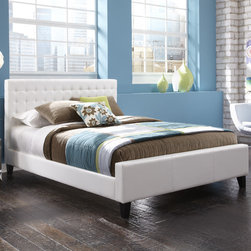 """FBG - Aria Platform Bed - Features: -Aria collection.-Powder Coated Finish: No.-Gloss Finish: No.-Hardware Finish: Black.-Frame Material: Wood / Synthetic Leather.-Upholstered: Yes .-Number of Items Included: 1 Headboard, 1 Footboard, 1 Bed Frame.-Hardware Material: Metal.-Non Toxic: Yes.-Scratch Resistant: No.-Mattress Included: No.-Box Spring Required: Yes -Boxspring Included: No..-Headboard Storage: No.-Footboard Storage: No.-Underbed Storage: No.-Adjustable Headboard Height: No.-Adjustable Footboard Height: No.-Wingback: No.-Trundle Bed Included: No.-Attached Nightstand: No.-Cable Management: No.-Built in Outlets: No.-Lighted Headboard: No.-Finished Back: Yes.-Reclaimed Wood: No.-Distressed: No.-Bed Rails Included: Yes.-Collection: Aria.-Eco-Friendly: No.-Recycled Content: No.-Wood Moldings: No.-Canopy Frame: No.-Hidden Storage: No.-Jewelry Compartment: No.-Weight Capacity: 750 lbs.-Swatch Available: No.-Commercial Use: No.-Product Care: Wipe with a clean, damp cloth.Specifications: -FSC Certified: No.-EPP Compliant: No.-CPSIA or CPSC Compliant: No.-CARB Compliant: No.-JPMA Certified: No.-ASTM Certified: No.-ISTA 3A Certified: No.-PEFC Certified: No.-General Conformity Certificate: No.-Green Guard Certified: No.Dimensions: -Overall Height - Top to Bottom (Size: King): 48"""".-Overall Height - Top to Bottom (Size: Queen): 48"""".-Overall Width - Side to Side (Size: King): 78.75"""".-Overall Width - Side to Side (Size: Queen): 62.75"""".-Overall Depth - Front to Back (Size: King): 79.81"""".-Overall Depth - Front to Back (Size: Queen): 79.81"""".Assembly: -Assembly Required: Yes.-Tools Needed: Screwdriver.-Additional Parts Required: No.Warranty: -Product Warranty: 10 Year Manufacturer Warranty."""