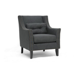 Wholesale Interiors - Albany Dark Gray Linen Modern Lounge Chair - The simple luxuries in life make all the difference: our Albany Modern Club Chair marries simplicity and comfort for an invigorating update to your living space. Durable, alluring dark charcoal gray linen/poly blend upholsters this comfortable foam-filled designer living room chair. A wooden frame with black wooden legs and non-marking feet will eagerly stand the test of time in your home. Not to be missed are the little extras: bronze nail head trim and removable cushions. This Chinese-crafted chair requires minimal assembly and should be spot cleaned when necessary. The Albany Chair is also available in beige linen (sold separately).Arm height: 25 inches
