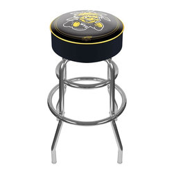 Trademark Global - Bar Stool w Padded Seat & Wichita State Unive - Yellow and black Wichita State University team colors put plenty of school spirit into this bar stool. Plus, it has distinct retro style with a steel, chrome finished base and curved legs. Comfortable padded seat has soft vinyl upholstery and official NCAA licensing. Adjustable levelers. Long lasting officially licensed college logo. Great for gifts and recreation decor. 7.50 in. High padded seat. 30 in. High bar stool great for bar pub table and bars. Commercial grade vinyl seat. Chrome plated double rung base. 14.75 in. W x 14.75 in. D x 30 in. H (17 lbs.)This officially licensed NCAA Bar Stool will be the highlight of your bar and game room.