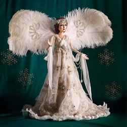 Frontgate - Special Edition Angel by Katherine's Collection - From head to toe, this angel dazzles with ethereal beauty. Modeled after our One-of-a-kind Angel, this special-edition doll from Katherine's Collection has an exquisitely handpainted resin face and hair made of pure New Zealand lambswool, hand dyed for perfect color. Her gorgeous organza gown contains hundreds of detailed leaves, each individually stitched and embellished with a rhinestone. The beaded trim on her dress is hand-strung and adorned with rhinestones, and the overskirt is sewn of embroidered and beaded tulle. Dainty and elegant velvet slippers are ornamented with a rhinestone. Her wings are shaped from downy plumes of pure white ostrich feathers, bejeweled with crystals and rhinestones. The crowning touch is her hand-beaded headpiece. She arrives with a handpainted stand, signed by the lead designer Francisco Yepo. Only 48 available