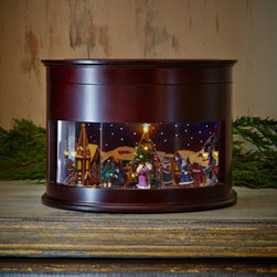 Horchow - Animated Symphony of Bells Musical Tabletop Decoration - This captivating music box features six tuned brass bells inside a beautiful box with an animated scene. The animated scene includes hand-painted figures and multicolored LED lights in the Christmas trees. Made of wood, plastic, metal, glitter, and el...
