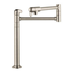 Hansgrohe - Hansgrohe 04060860 Allegro E Deck Mounted Pot Filler Multicolor - 415713 - Shop for Kitchen from Hayneedle.com! Add some sophistication to your kitchen counter with the Hansgrohe 04060860 Allegro E Deck Mounted Pot Filler in steel optik finish. A home cook's dream this exquisite faucet stands 14-inches tall and extends so you can fill up a big pot with ease! Big meals require big cookware and more often than not your biggest pot isn't going to fit in the basin of your sink but with the Hansgrohe 04060860 Allegro Deck Mounted Pot Filler this is no longer a problem. The ingenious swing-arm spout extends up to 23.5-inches so you have plenty of room for even the most over-sized pots! Crafted entirely from durable metal your new pot filler is built to last and it also comes with great features like 2 ceramic shut-off valves for convenient usage and a .5-inch connection for hassle-free placement. Hansgrohe has thought of everything! The deck mounted unit was designed with a single-hole installation in mind and measures 23L x 2.75W x 15.13H inches. Product Specifications: Number of Holes: 1 hole installation Number of Handles: 2 faucet handles Mount Type: Deck mount Faucet Height: 15.13 inches Extended Length: 23.5 inches Overall Dimensions: 26.94L x 2.75W x 5.56H in. Material: Brass ADA Compliant: Yes About the Hansgrohe GroupIn 1901 the Hansgrohe Group was founded in Schiltach in the Black Forest in Germany by Hans Grohe. Headquarters for Hansgrohe are still located there today. With a firm establishment in the sanitation industry Hansgrohe offers progressive design-oriented bathroom solutions and cutting-edge bathroom products. Successful world-wide Hansgrohe has 10 production facilities on three continents and sales companies and consulting support locations in 36 countries. Hansgrohe's five-star recipe for success includes innovative products a sustainable business concept and the passion for the element of water.