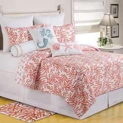 C and F Enterprises - C and F Enterprises Cora Bedding Set - Orange Multicolor - CFID207 - Shop for Bedding Sets from Hayneedle.com! Revamp your bedroom with the Oceanside freshness of this C and F Enterprises Cora Bedding Set - Orange. This quilt and bedding set has a bright orange coral pattern against a sea of white. The quilt reverses to a seashell pattern in the same colors. This luxurious bedding collection is made of comfy cotton and is machine-washable. Make it yours by adding coordinating pillow shams and a variety of plump decorative throw pillows. It comes in your choice of size.Quilt Dimensions:Twin: 86L x 66W inchesFull/Queen: 92L x 90W inchesKing: 108L x 92W inches