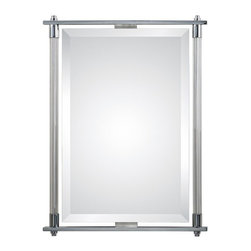 Umaymah- Mirror - Modern Beveled Mirror with Chrome Plate and Ribbed Glass Frame