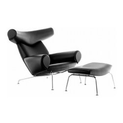Fine Mod Imports - Big Chair and Ottoman Black - The Big Chair is notable for the serenity and harmony of its design. While the Big Chair is a work of art, it is made for sitting not just for looking, and it greets its guests with exceptionally generous comfort. Italian Leather. Steel Base.