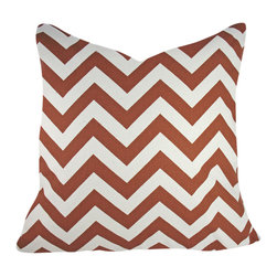 Domusworks - Chevron Decorative Pillow Cover, Brick, 20x20 - Add a splash of color and pattern to complement your home with new pillows.