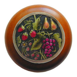 """Inviting Home - Tuscan Bounty Cherry Wood Knob (hand-tinted brass) - Tuscan Bounty Cherry Wood Knob with hand-cast hand-tinted brass insert; 1-1/2"""" diameter Product Specification: Made in the USA. Fine-art foundry hand-pours and hand finished hardware knobs and pulls using Old World methods. Lifetime guaranteed against flaws in craftsmanship. Exceptional clarity of details and depth of relief. All knobs and pulls are hand cast from solid fine pewter or solid bronze. The term antique refers to special methods of treating metal so there is contrast between relief and recessed areas. Knobs and Pulls are lacquered to protect the finish."""
